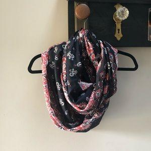 Bandana print red & black infinity scarf